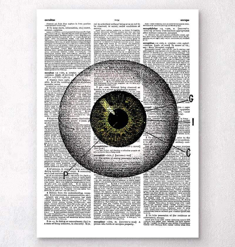 Eye anatomy dictionary art print