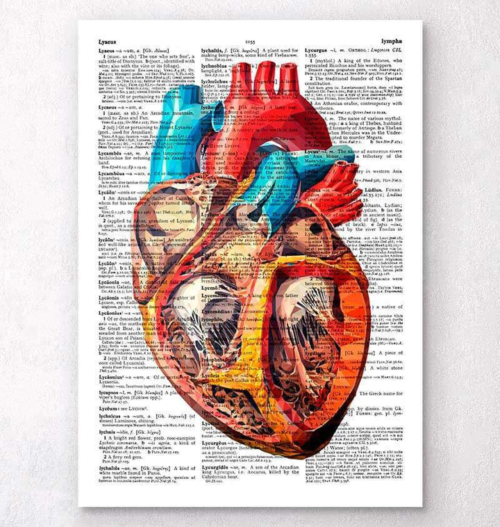 Geometric heart dictionary art