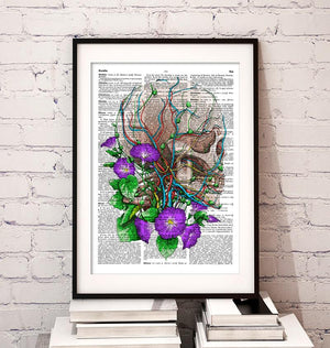 Skull with flowers dictionary art poster by codex anatomicus