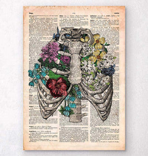 Rib cage with flowers - Old dictionary page