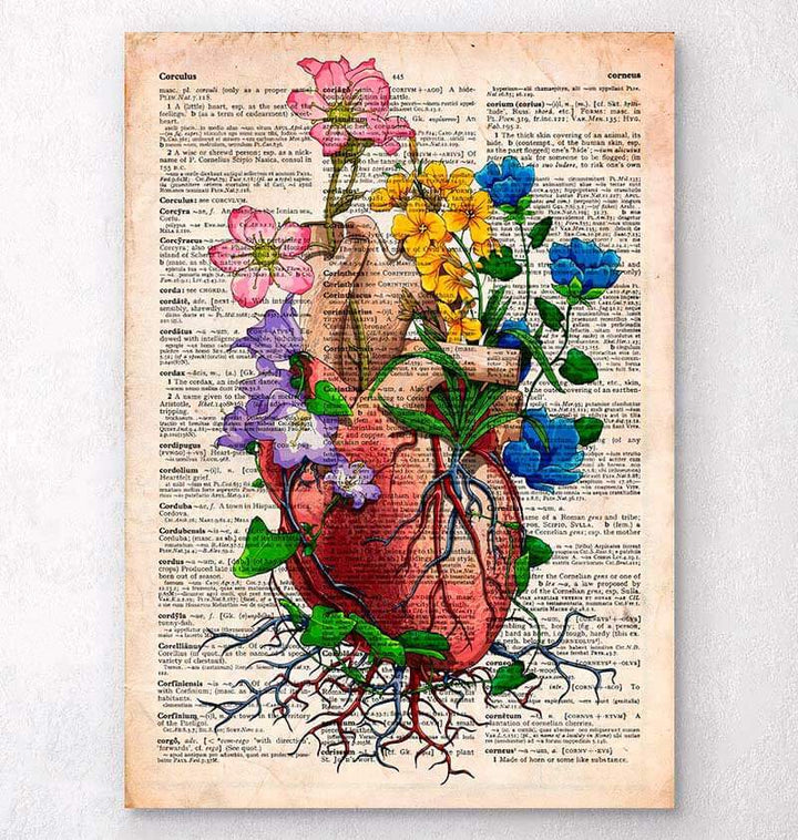 Heart anatomy dictionary art print