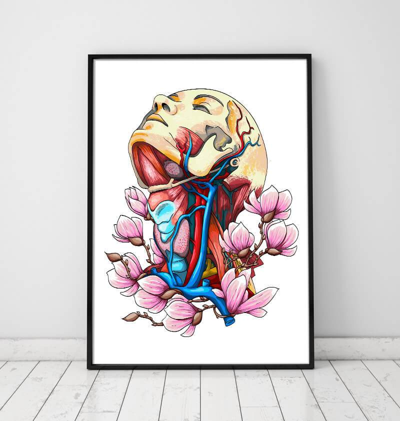 floral head, neck and arteries anatomy poster by codex anatomicus