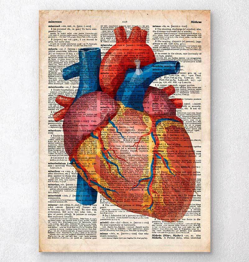 Geometric heart dictionary print
