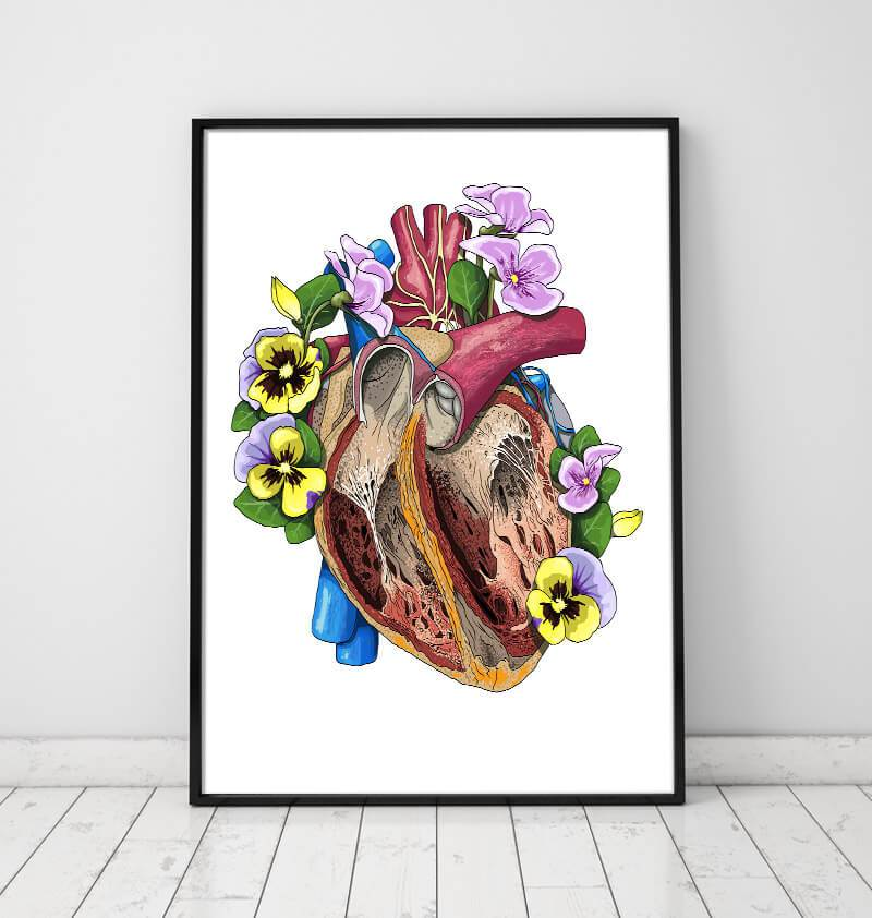 Heart with flowers art print