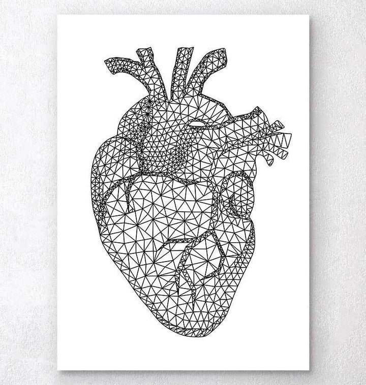 Minimal geometric heart art print