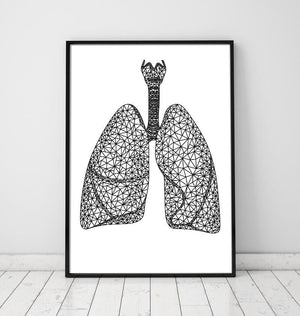 Minimal geometrical lungs anatomy art print by Codex Anatomicus