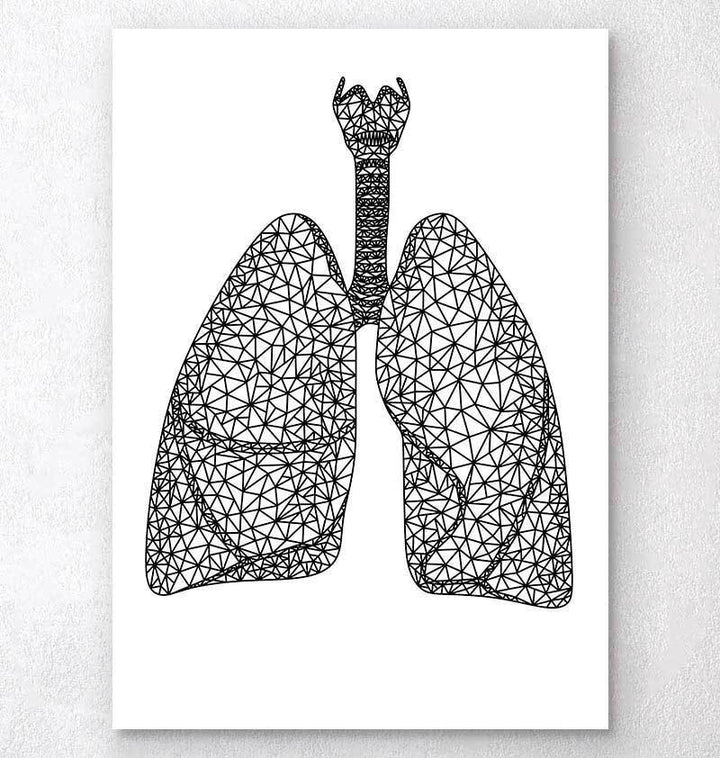 Minimal geometric lungs anatomy art print