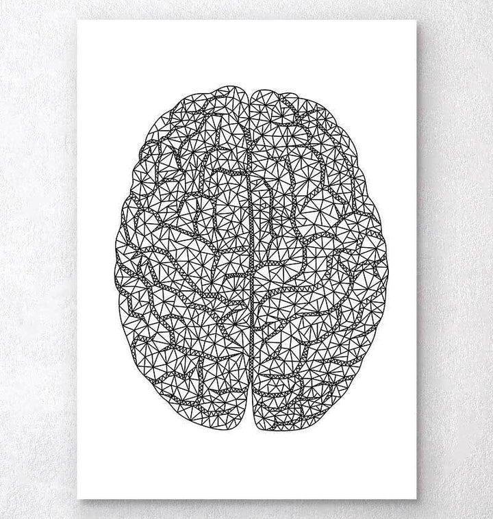Minimal geometric brain anatomy art print