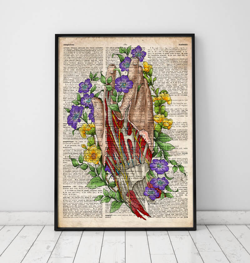 Hand anatomy art print on old dictionary page