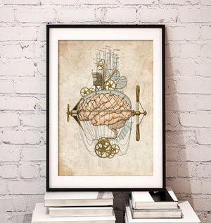 Steampunk brain art print by Codex Anatomicus