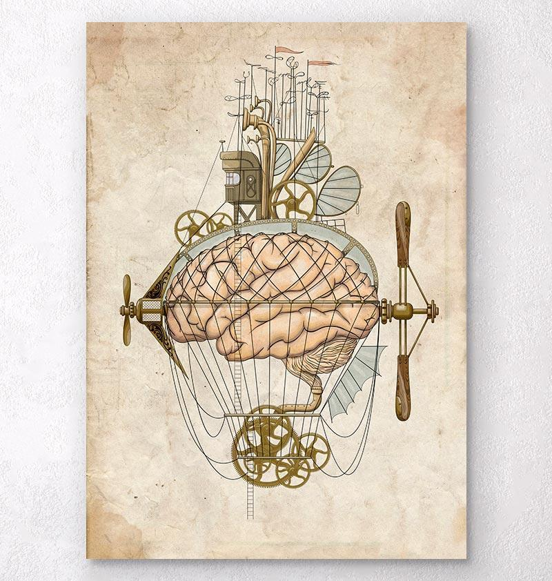 Steampunk brain art print - Codex Anatomicus