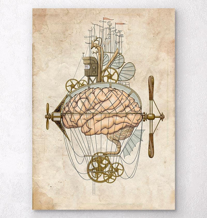 Steampunk brain art print