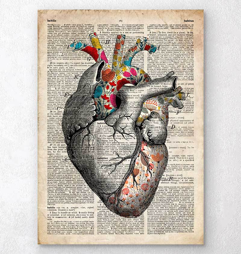 Floral pattern heart art - Old dictionary page