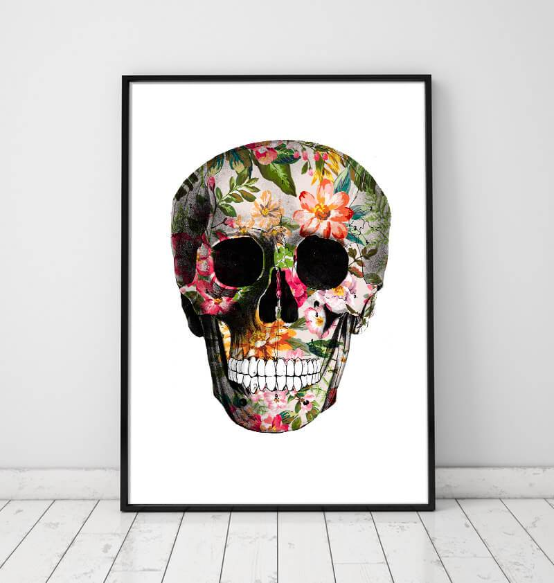 Floral skull art print by codex anatomicus