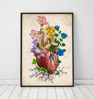 Floral heart anatomy poster