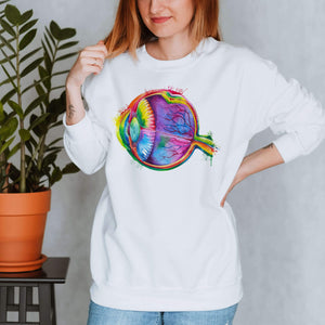 watercolor eye anatomy sweatshirt for medical students by codex anatomicus