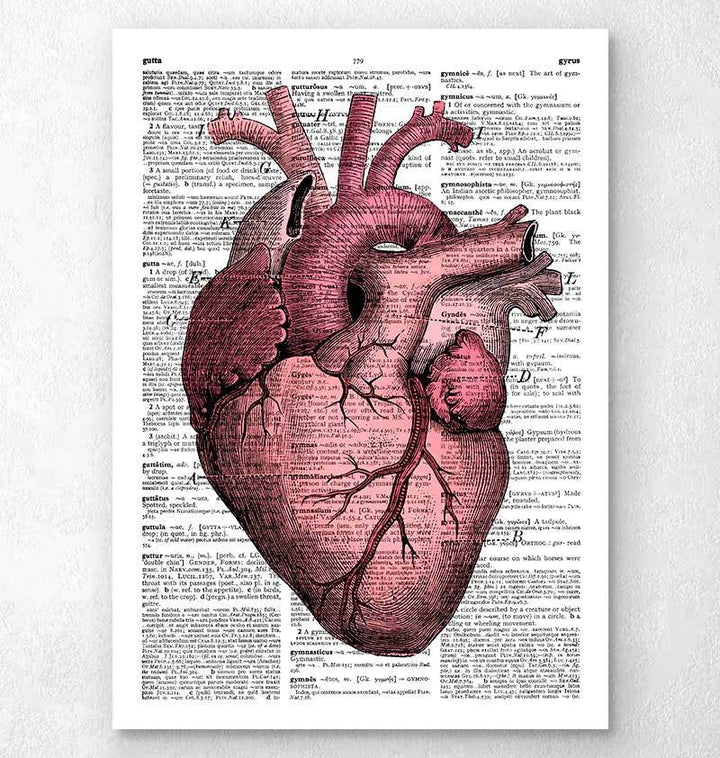 Heart dictionary print