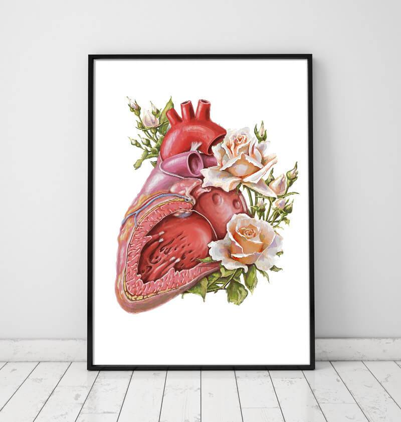 floral anatomical heart poster