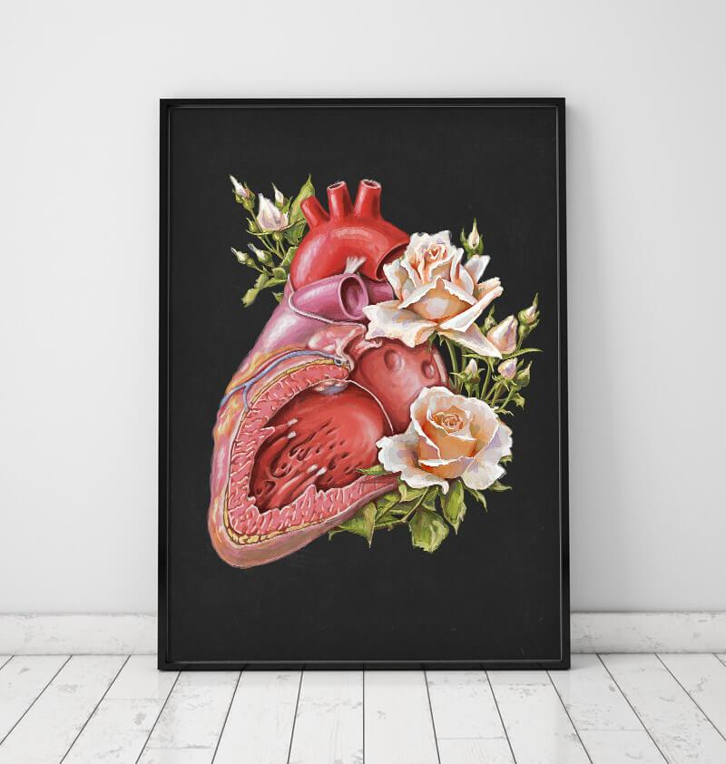 Floral heart anatomy art print in a frame