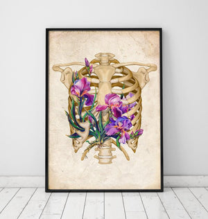 Rib cage with flowers anatomy art poster by codex anatomicus