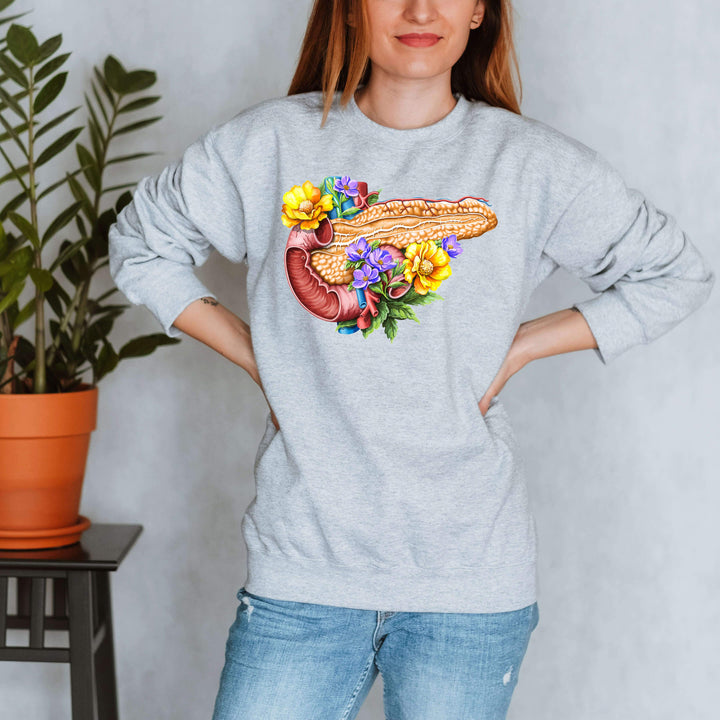 pancreas anatomy floral sweatshirt for women by codex anatomicus