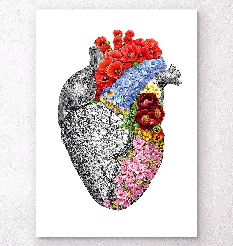 Heart anatomy with flowers