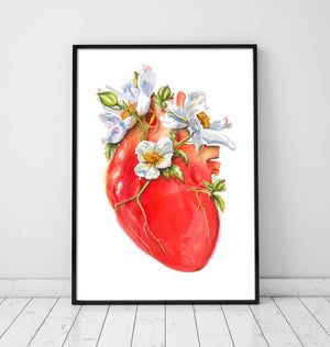 Floral heart anatomy art print by Codex Anatomicus