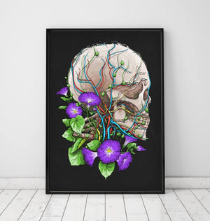 Skull with flowers art poster