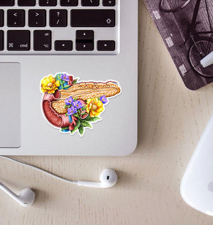 Pancreas anatomy sticker - Floral
