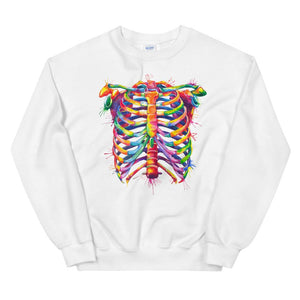 rib cage anatomy design on a white pullover for medstudents