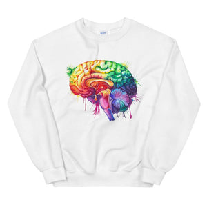 white watercolor brain anatomy sweatshirt for neurologists by codex anatomicus
