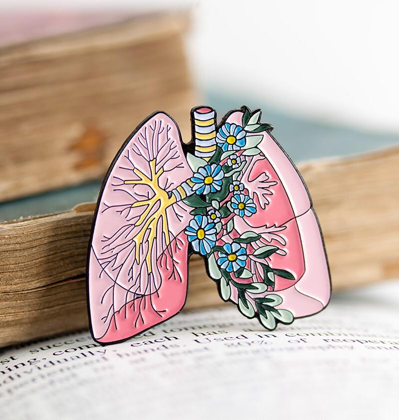 lungs anatomy enamel pin with flowers