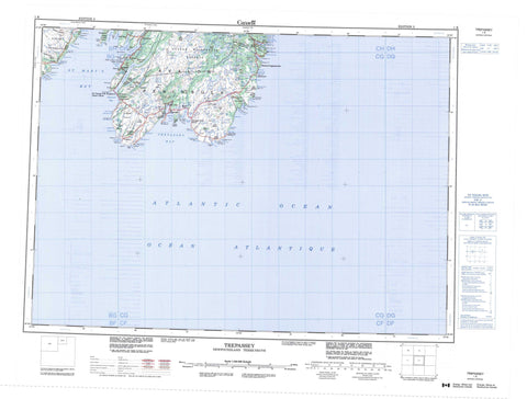 001K Trepassey Canadian topographic map, 1:250,000 scale