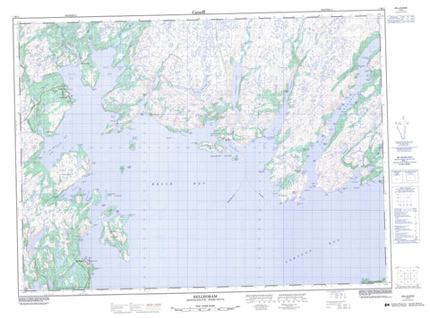 001M11 Belleoram Canadian topographic map, 1:50,000 scale
