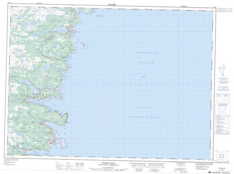 001N02 Ferryland Canadian topographic map, 1:50,000 scale