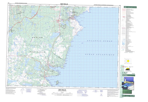 001N07 Bay Bulls Canadian topographic map, 1:50,000 scale