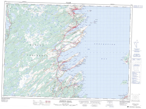 001N11 Harbour Grace Canadian topographic map, 1:50,000 scale