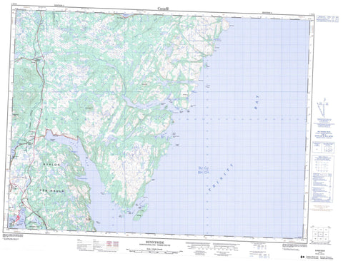 001N13 Sunnyside Canadian topographic map, 1:50,000 scale