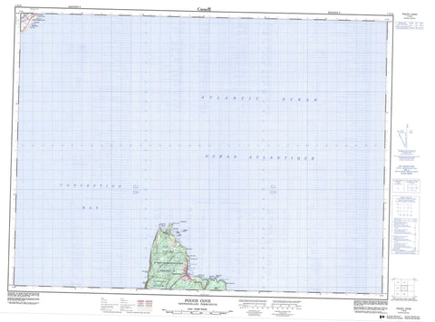 001N15 Pouch Cove Canadian topographic map, 1:50,000 scale