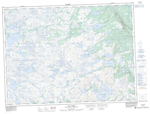 002D01 Tug Pond Canadian topographic map, 1:50,000 scale