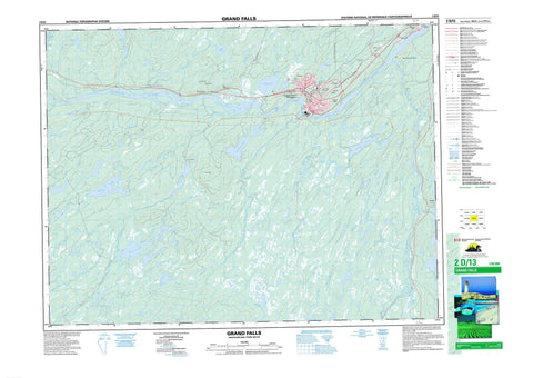 002D13 Grand Falls Canadian topographic map, 1:50,000 scale