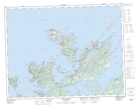 002E10 Twillingate Canadian topographic map, 1:50,000 scale