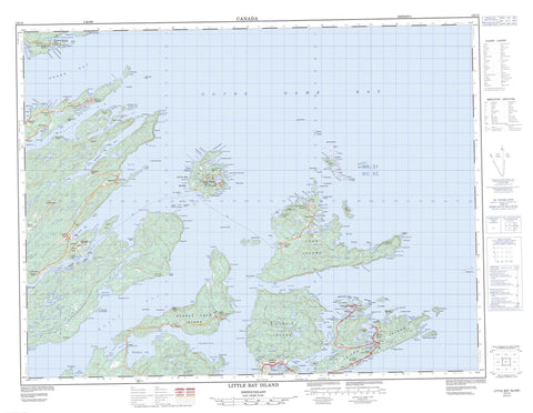 002E12 Little Bay Island Canadian topographic map, 1:50,000 scale