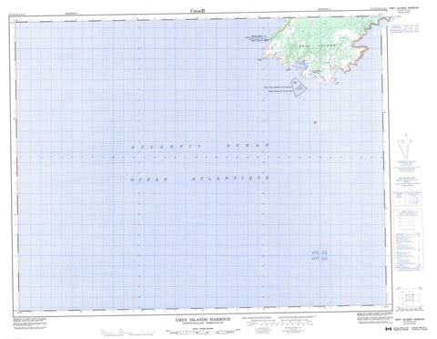 002L12 Grey Islands Harbour Canadian topographic map, 1:50,000 scale