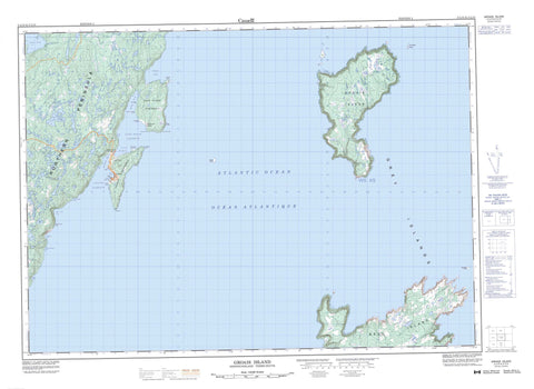 002L13 Groais Island Canadian topographic map, 1:50,000 scale