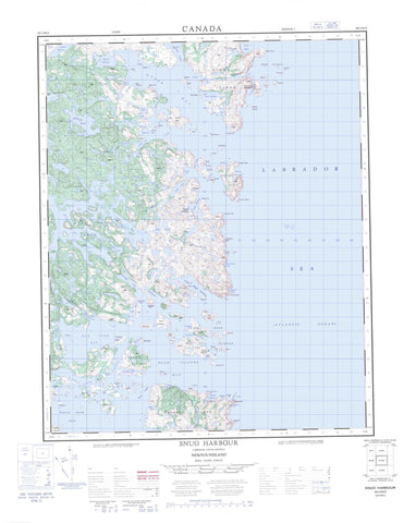 003D13 Snug Harbour Canadian topographic map, 1:50,000 scale