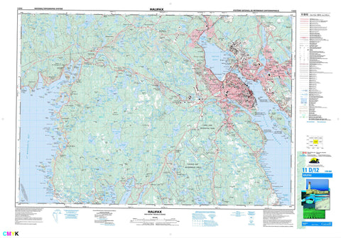 011D12 Halifax Canadian topographic map, 1:50,000 scale