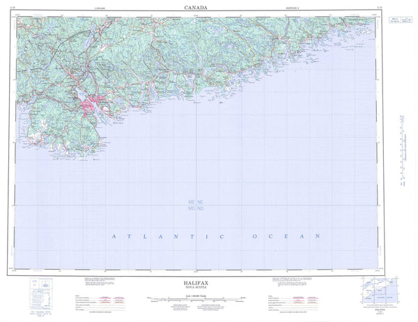 011D Halifax Canadian topographic map, 1:250,000 scale