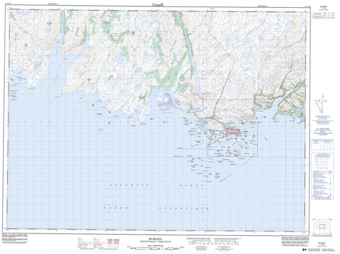 011P12 Burgeo Canadian topographic map, 1:50,000 scale