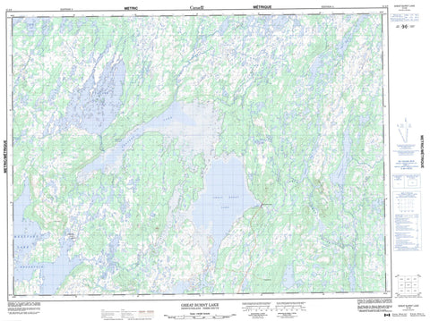 012A08 Great Burnt Lake Canadian topographic map, 1:50,000 scale